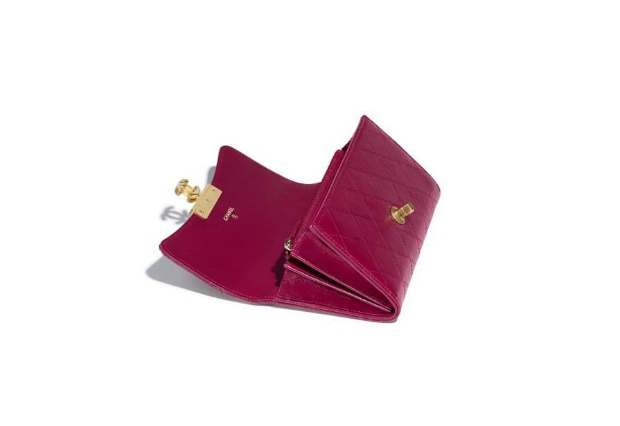 香奈儿chanel 紫色 羊皮革 口盖钱包 A81414 Y33341 0B849