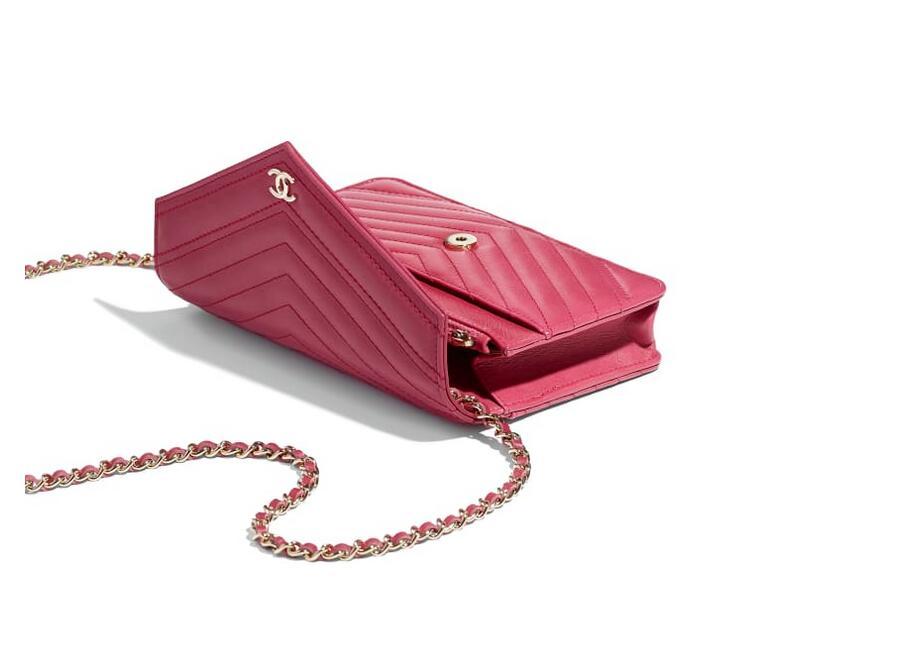香奈儿chanel 链子钱包 粉红色 小牛皮 A84350 Y33350 5B309