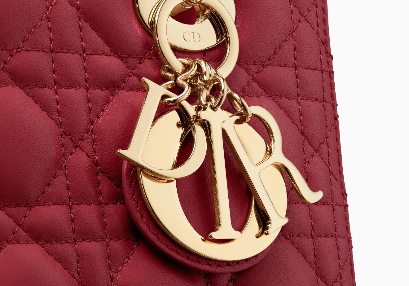迪奥戴妃包 价格和图片 Lady Dior红色藤格纹小羊皮手提包