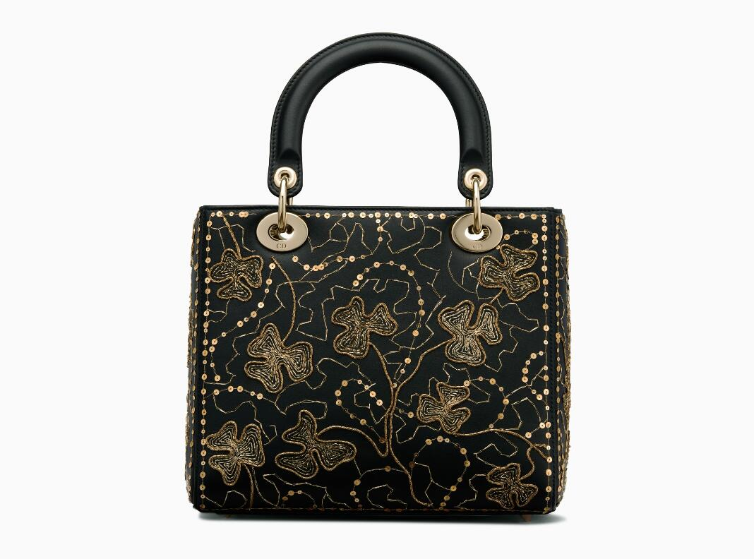 迪奥ladydior戴妃包 Lady Dior黑色光滑小牛皮手提包 缀三叶草刺绣图案