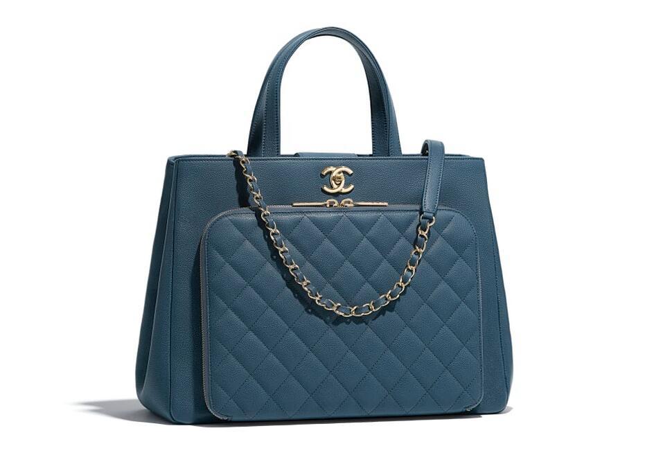 香奈儿Chanel 大号手提包 蓝色 颗粒压花小牛皮与金色金属