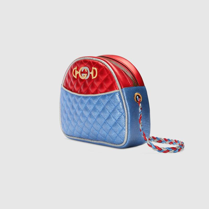 Gucci古驰 红色/蓝色层压皮革迷你手袋 534951 0U14X 6495