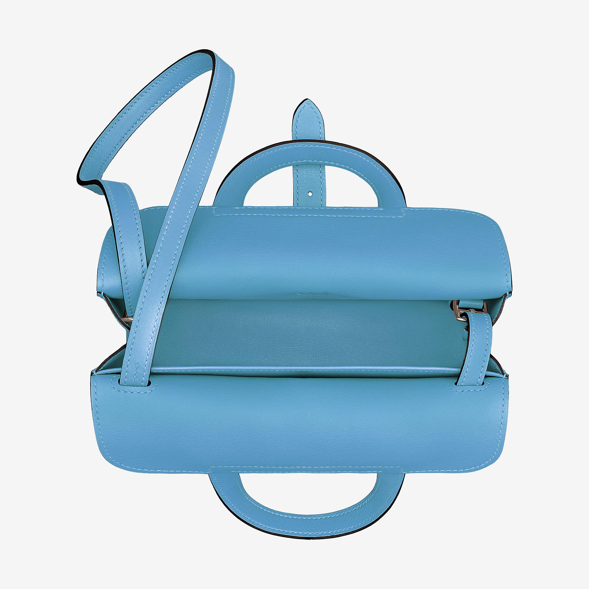 爱马仕Hermès包包 Halzan迷你 天蓝色Swift小牛皮手提包