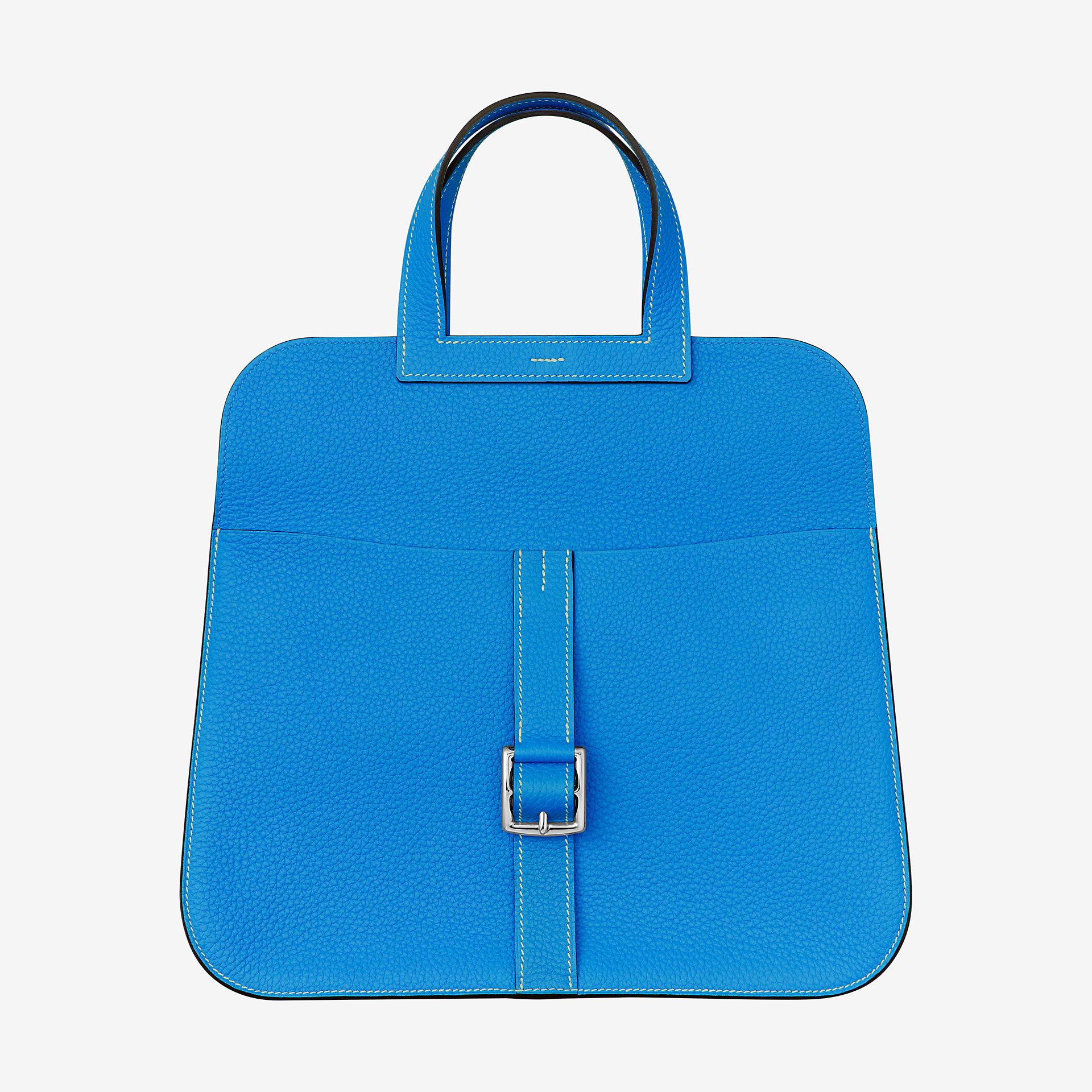 爱马仕Halzan 31cm bag bleu hydra Clemence小公牛皮手提包