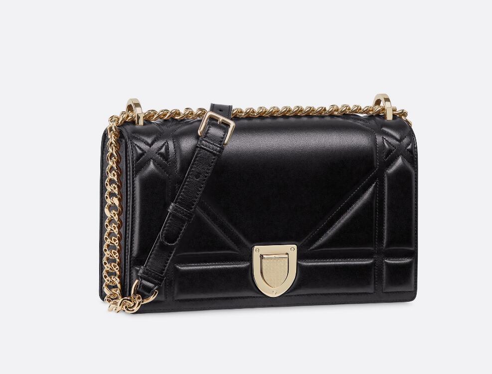 迪奥Dior Diorama黑色Archicannage藤格纹图案绗缝小羊皮手提包