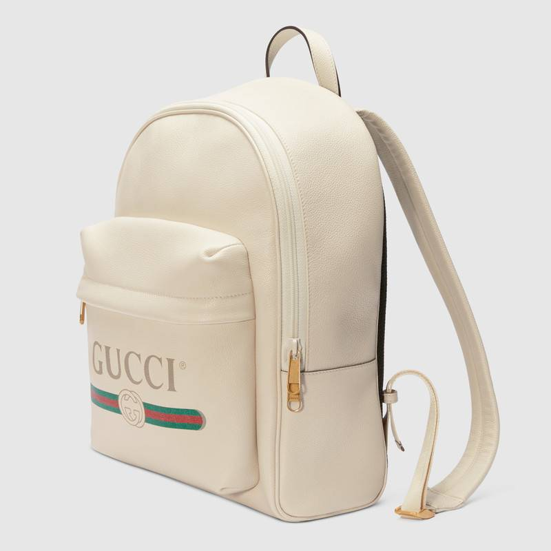 Gucci 白色皮革 印花皮革背包 547834 0Y2BT 8824