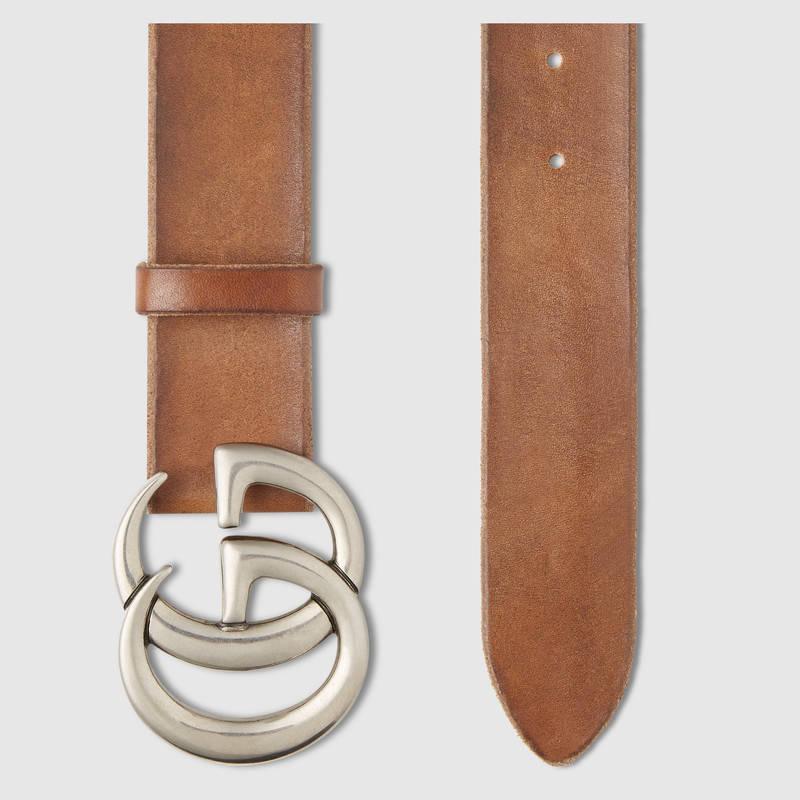 Gucci 棕色皮革腰带 互扣式GG带扣 406831 CVE0N 2535