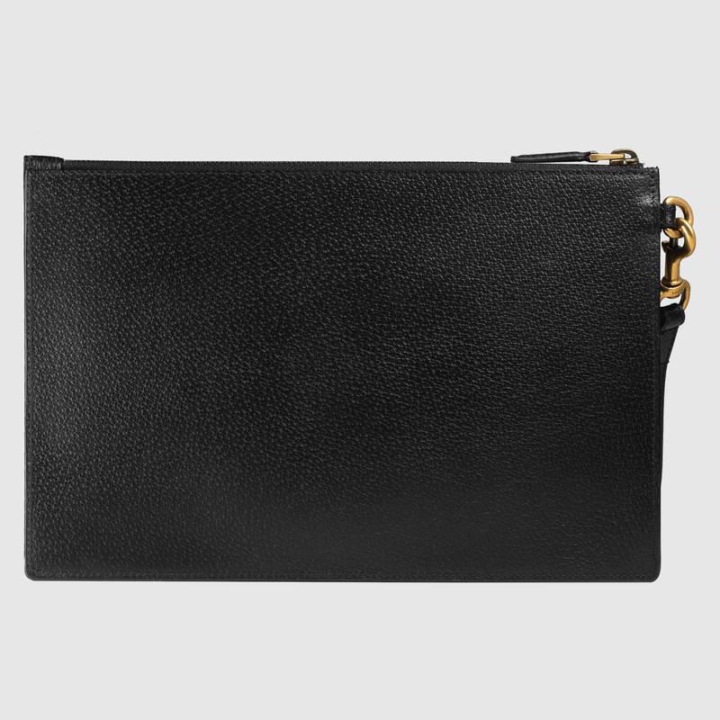 Gucci 黑色皮革 饰条纹织带皮革手拿包 428758 DJ21T 1060
