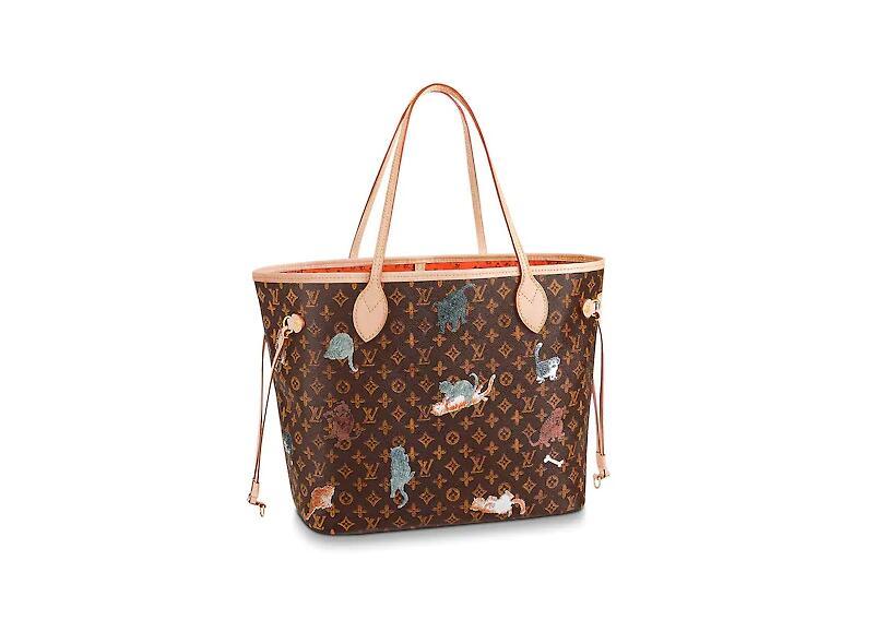路易威登 LV 棕色与橘色NEVERFULL 中号手袋 M44441