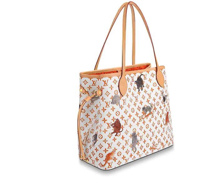 路易威登 LV 白色和橙色NEVERFULL 中号手袋 (北京SKP限定款)M44459