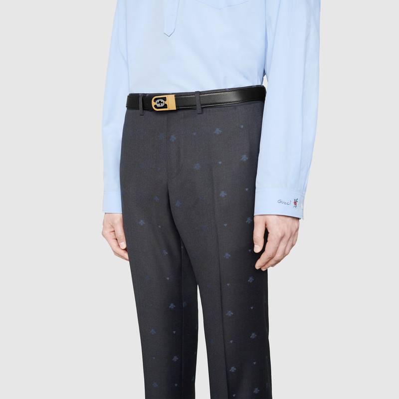 Gucci 黑色/棕色皮革 互扣式G搭扣双面腰带 547734 AP0BX 1056