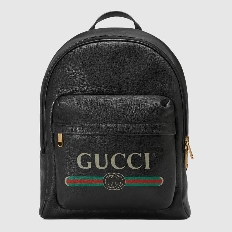 Gucci黑色皮革 印花皮革背包 547834 0Y2BT 8163