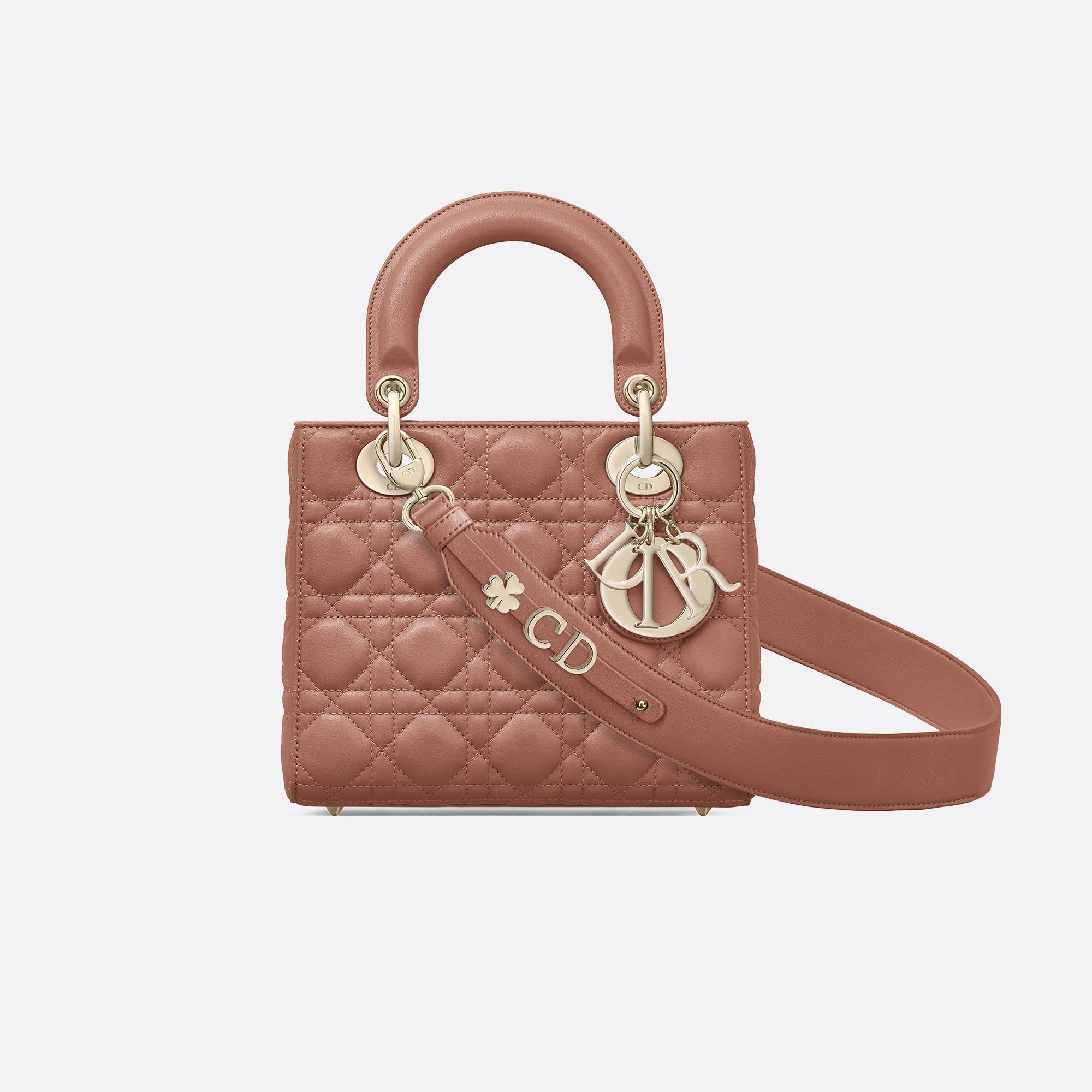 迪奥包包 价格和图片 My ABCDior棕红色藤格纹小羊皮手提包