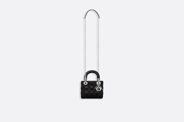 dior包包官网价格 迪奥Lady Dior黑色藤格纹小羊皮袖珍手提包