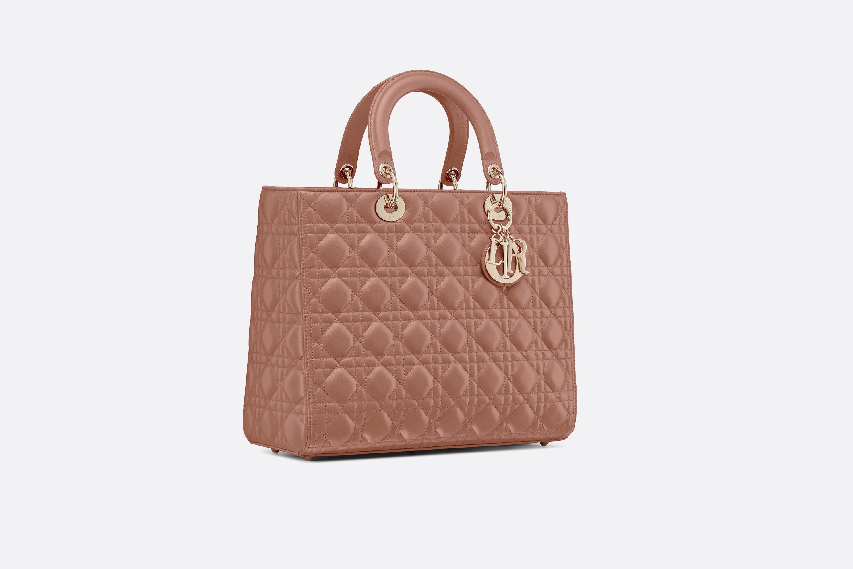 迪奥包包官网价格 Lady Dior棕红色藤格纹小羊皮购物包