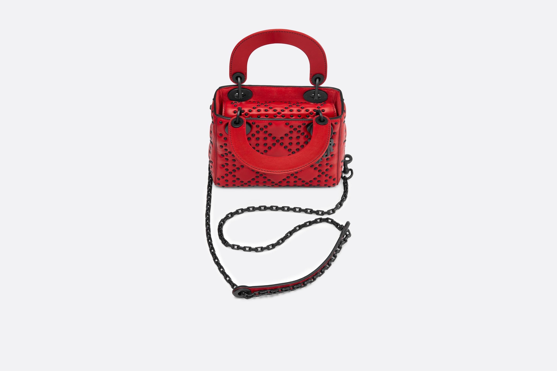 迪奥包包 LADY DIOR红色藤格纹哑光小牛皮柔软袖珍手提包