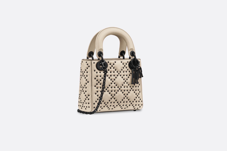 迪奥dior包包 LADY DIOR原色藤格纹哑光小牛皮柔软袖珍手提包